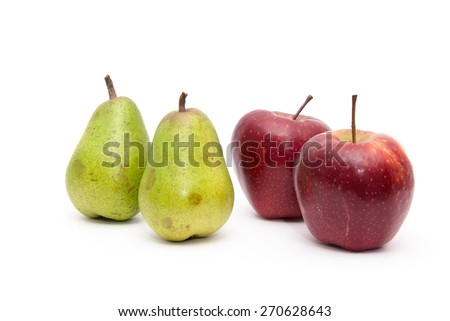 Juicy pears, apples. On a white background - stock photo