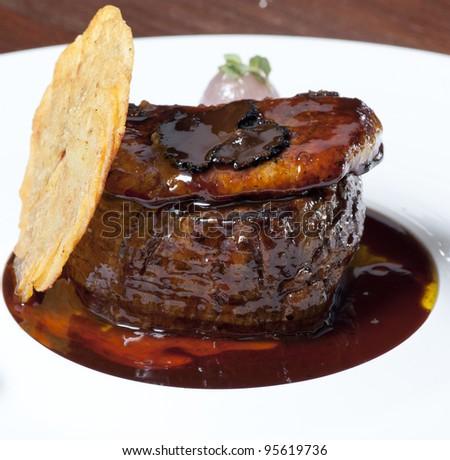Juicy platter of beef steak - stock photo