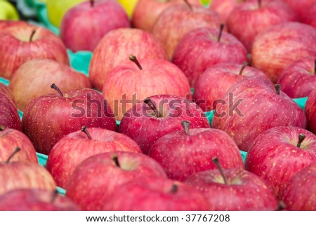 Juicy red apples in market - stock photo