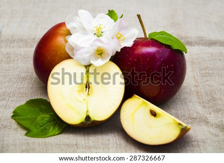 Juicy red apples with blossom on a sack background - stock photo