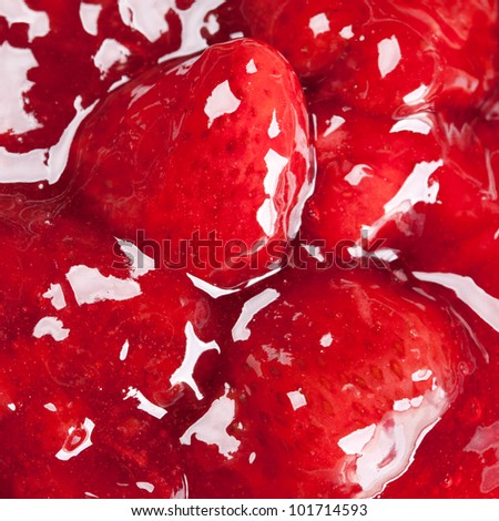 juicy red strawberry jam background - stock photo