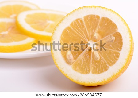 juicy ripe lemons close up - stock photo