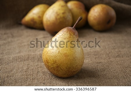 Juicy ripe pear close-up, against the background of burlap, sack - stock photo
