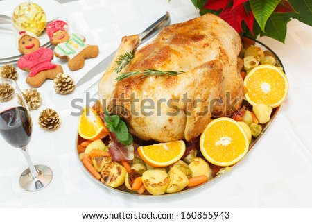 Juicy Roast Turkey. Christmas dinner turkey. Viewed from above - stock photo