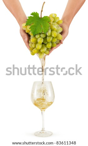 Juicy white grapes in the hands of the flows in the form of wine in crystal glass - stock photo