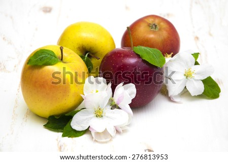 Juicy yellow and red apples with blossom on a white wooden background - stock photo