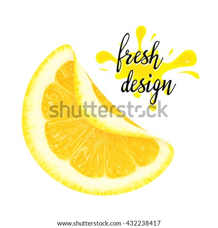 Juicy yellow curved piece of lemon on a white background isolated. Design element for product label, sticker, catalog print, web use. - stock photo