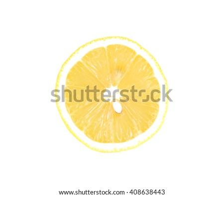 Juicy yellow slice of lemon on a white background isolated - stock photo