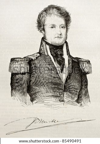 Jules Dumont d Urville old engraved portrait and signature (French explorer and naval officer). By unidentified author, published on Magasin Pittoresque, Paris, 1842 - stock photo