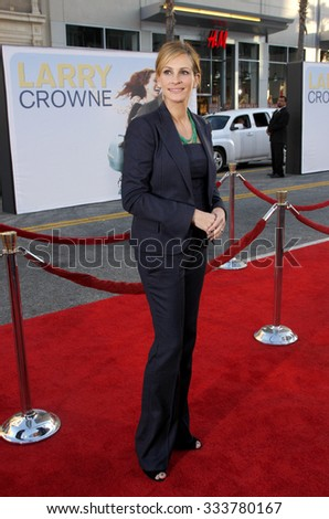 Julia Roberts at the Los Angeles premiere of 'Larry Crowne' held at the Grauman's Chinese Theater in Hollywood, USA on June 27, 2011. - stock photo