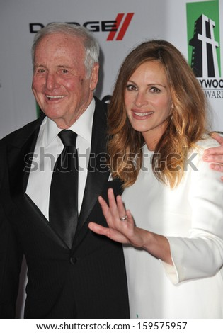 Julia Roberts & Jerry Weintraub at the 17th Annual Hollywood Film Awards at the Beverly Hilton Hotel. October 21, 2013  Beverly Hills, CA - stock photo