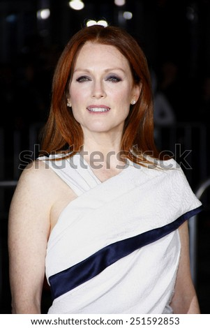 """Julianne Moore at the Los Angeles Premiere of """"Non-Stop"""" held at the Regency Village Theatre in Los Angeles, California, United States on February 24, 2014.  - stock photo"""