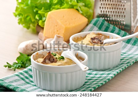 Julienne with mushrooms and cream - stock photo