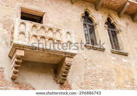 Juliet's balcony, Verona, Italy  - stock photo