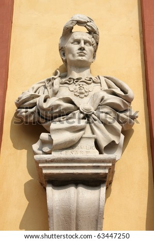 Julius Caesar bust in Modena, Italy - Emilia-Romagna region. Famous emperor of Rome. - stock photo