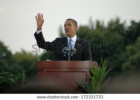"JULY 24, 2008 - BERLIN: Barack Obama - speech of the democratic candidate for US presidency at the ""Siegessaeule"" (Victory Column) in the Tiergarten district of Berlin. - stock photo"