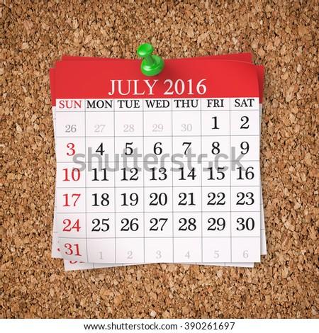 July 2016  Calendar on cork board , 3d render - stock photo