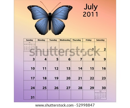 July 2011 calendar with butterfly - stock photo