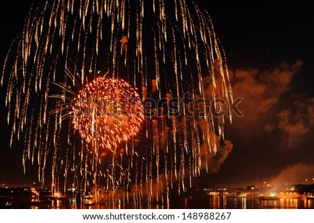 July 4, 2013, Fair St. Louis fireworks show as seen from the Eads Bridge over the Mississippi River. - stock photo