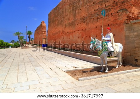 July 10, 2015: Horse riding guard at Hassan Tower in Rabat, Morocco  - stock photo