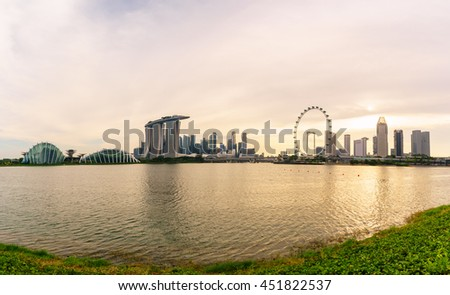 July 9, 2016- Marina bay before sunset, Singapore city scape - stock photo