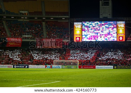 July 24, 2015- Shah Alam, Malaysia: Fans and supporters show their support for the visiting Liverpool team in their friendly match against Malaysia. Liverpool Football Club from UK is on an Asia tour. - stock photo