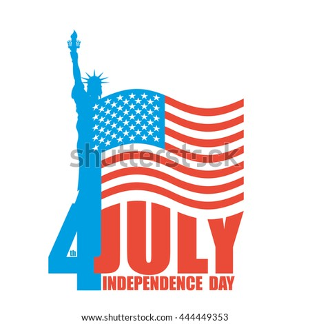 July 4th Independence Day of America. Statue of Liberty and USA flag. National patriotic holiday. State celebration - stock photo