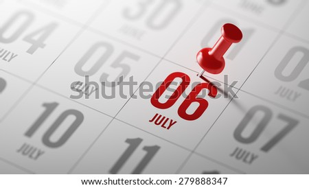 July 06 written on a calendar to remind you an important appointment. - stock photo