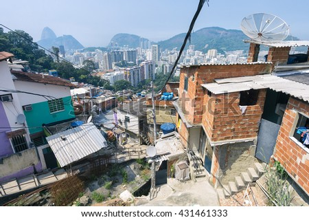 Jumble of ramshackle buildings of the Favela Santa Marta Community on a hillside in the center of Rio de Janeiro Brazil - stock photo