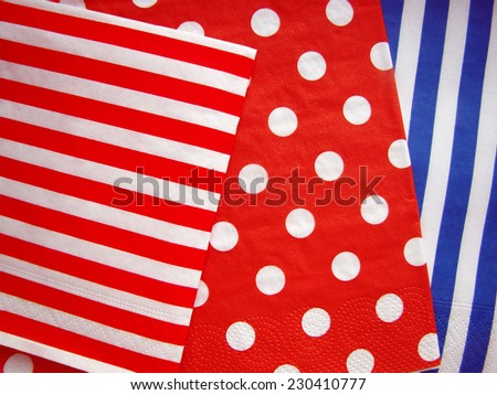 Jumbo Polka Dot, Gingham and Diagonal Stripes Patterns in Aqua Blue, Dark Red and White  - stock photo