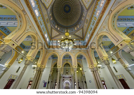 Jumeirah Grand Mosque Interior - Jumeirah Mosque is a mosque in Dubai City. It is said that it is the most photographed mosque in all of Dubai. - stock photo