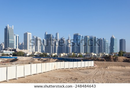 Jumeirah Lakes Towers and Dubai Marina skyline. Dubai, United Arab Emirates - stock photo