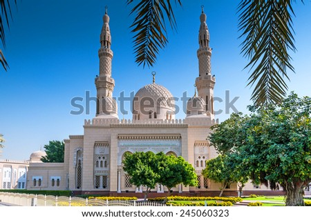 Jumeirah Mosque is a mosque in Dubai City. It is said that it is the most photographed mosque in all of Dubai. Organized tours are available for non-Muslims. - stock photo