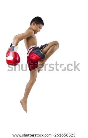 jump hit with the knee - stock photo