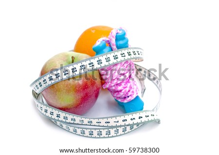 Jump rope, apple orange  and centimeter (show 60, ideal measure for waist) - stock photo
