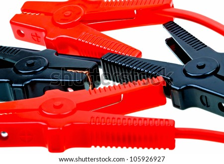 Jumper cables isolated on white - stock photo