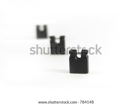 Jumper Switches used at motherbord or harddrive - stock photo
