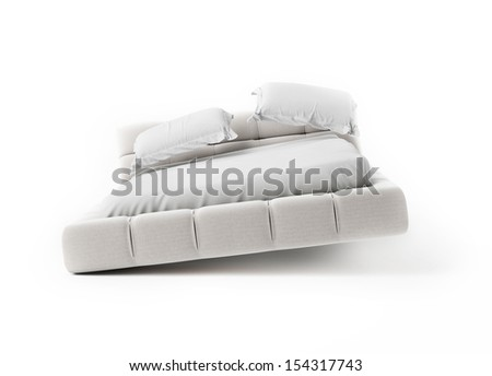 Jumping Bed on White Background, render - stock photo