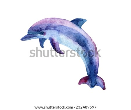Jumping blue dolphin, watercolor painted illustration. - stock photo
