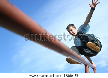Jumping boy - stock photo