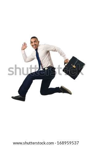 Jumping businessman in business concept on white - stock photo
