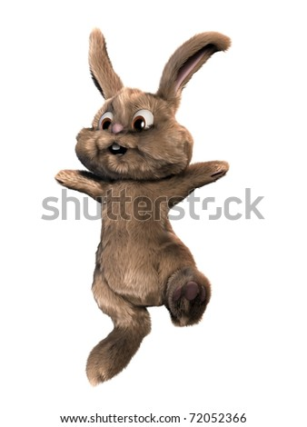 jumping easter bunny - stock photo
