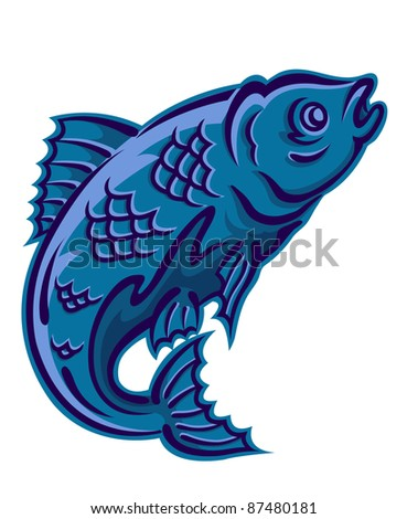 Jumping fish as a fishing symbol isolated on white background. Vector version also available in gallery - stock photo