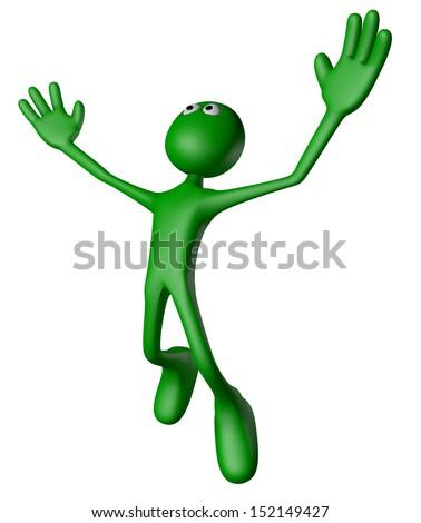 jumping green guy on white background - 3d illustration - stock photo