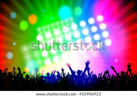 Jumping people shapes (contours) - great for topics like party, concert, celebration etc. - stock photo