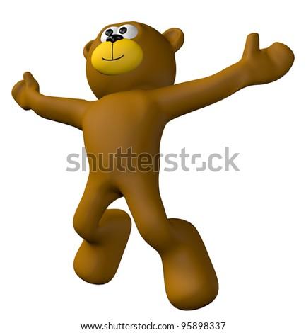 jumping teddy bear - 3d illustration - stock photo