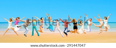 Jumping Wild Pretty Dancers  - stock photo