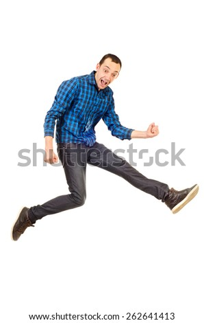 jumping young man isolated on a white background - stock photo