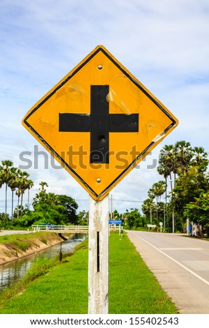 junction sign,intersection, crossroad traffic sign Thailand - stock photo