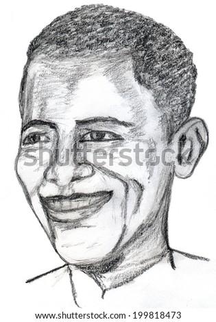 June 20, 2014 - Barack Obama president of United States. Hand drawn portrait - stock photo